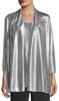 Caroline Rose Reflection Knit Metallic Easy Cardigan, Plus Size
