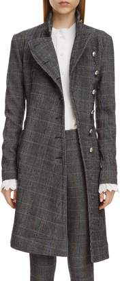 Chloé Plaid Stretch Wool Longline Jacket