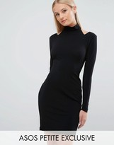 Asos Cold Shoulder Long Sleeve Mini Bodycon Dress in Crepe