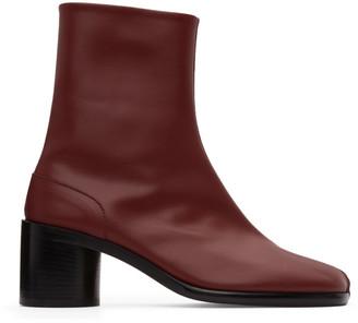Maison Margiela Burgundy Tabi Mid Heel Boots