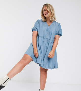 Simply Be denim smock dress with puff sleeves