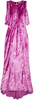 ATTICO Asymmetric Draped Crushed-velvet Dress