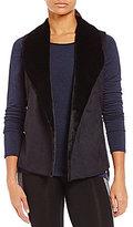 Calvin Klein Faux-Suede & Faux-Fur Sweater Mix Open Vest