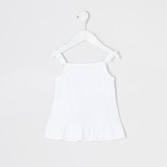 River Island Mini girls white frill cami top