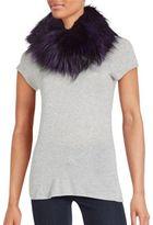 Adrienne Landau Silver Fox Fur Cowl Scarf