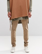 Asos Skinny Chinos With Oil Wash In Khaki