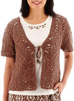 Alfred Dunner Indian Summer Short-Sleeve Tie-Front Crochet Layered Top