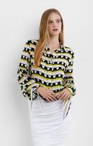 Nicole Miller Ruffle Stripe Blouse