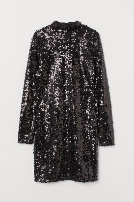 H&M Stand-up Collar Sequined Dress - Black