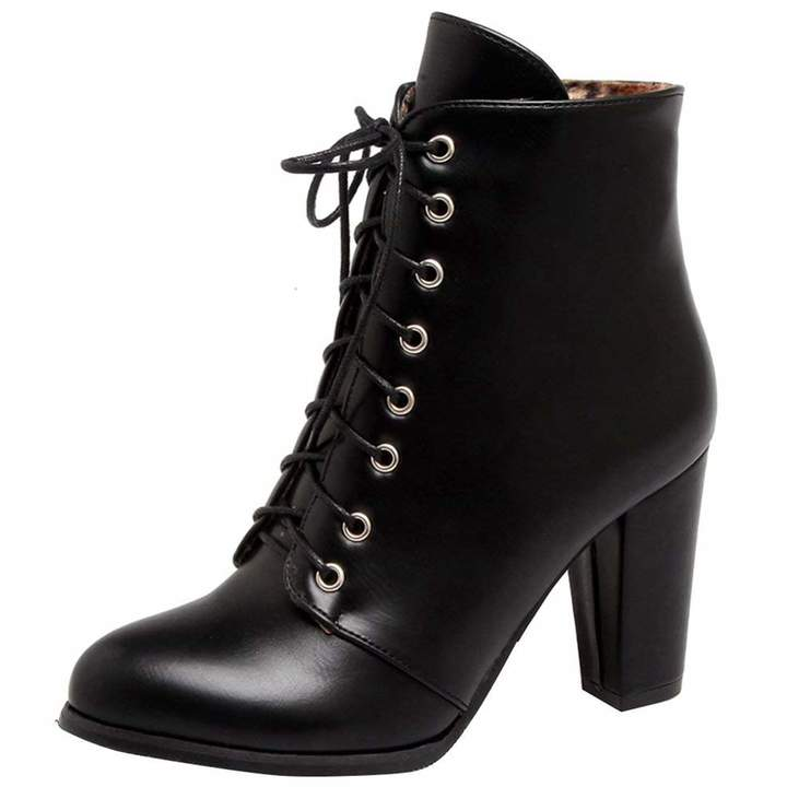 e3aa161ccf798 Vitalo Womens Lace Up Chunky High Heel Ankle Boots Ladies Autumn Winter  Booties Size