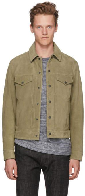 Rag & Bone Khaki Suede Trucker Jacket