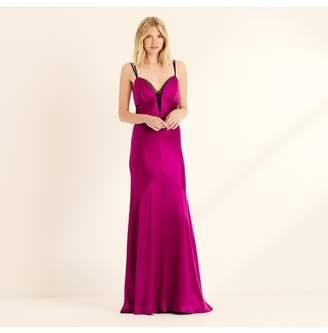 Amanda Wakeley Magenta Crepe Back Satin Maxi Slip Dress