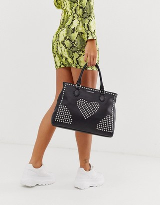 Love Moschino stud faux leather tote bag-Black