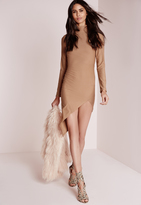 Missguided Crepe High Neck Asymmetric Bodycon Dress Camel