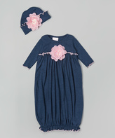 denim and pink flower gathered gown and beanie - Infant