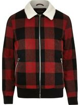 River Island MensRed check fleece collar jacket