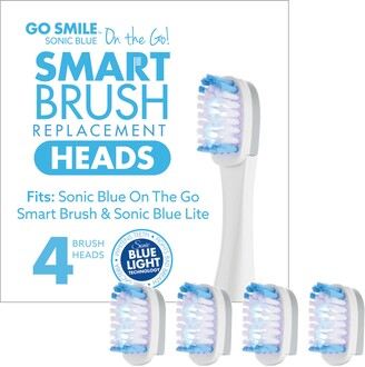 Go Smile 4-Pack On the Go Sonic Blue Replacement Brush Heads