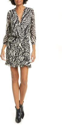 Veronica Beard Kiran Mixed Animal Print Silk Mini Dress