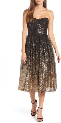 Eliza J Strapless Midi Dress