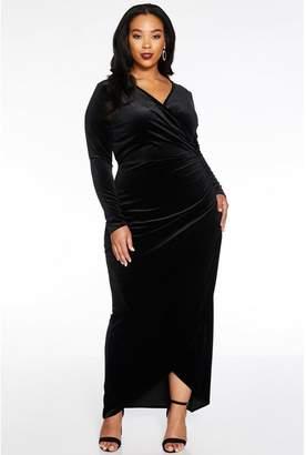 Quiz Curve Black Velvet Wrap Long Sleeve Maxi Dress