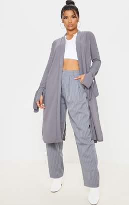 PrettyLittleThing Aba Grey Sleeve Tie Detail Duster Jacket