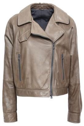 Brunello Cucinelli Cropped Bead-embellished Leather Biker Jacket