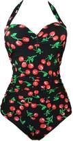 Imilan 50s Retro Vintage Plus Size Cherry Print One Piece Bikini Swimwear Monokinis
