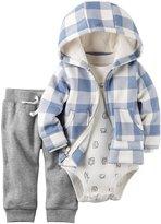 Carter's 3 Piece Plaid Cardigan Set (Baby) - Blue - 18 Months