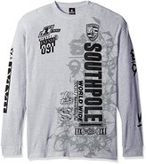 Southpole Men's Big and Tall Long Sleeve Flock and Screen Graphic Tee Logo