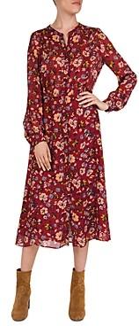 Gerard Darel Dilys Floral Print Button-Front Midi Dress
