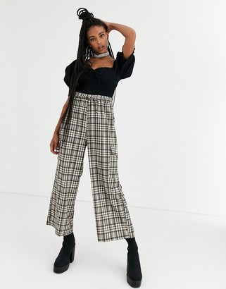 New Girl Order high waisted drawstring pants in heritage check two-piece