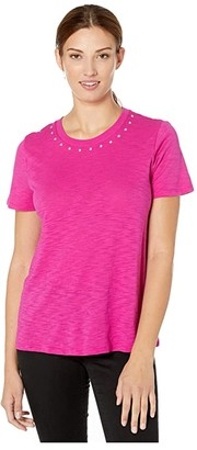 Vince Camuto Short Sleeve Studded Crew Neck Tee (Pink Shock) Women's T Shirt