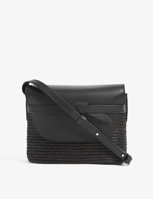 Cesta Collective Leather and raffia cross-body bag
