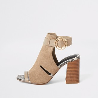 River Island Womens Grey cutout open toe heeled wide fit boots