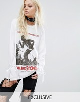 Reclaimed Vintage Inspired Band Rolling Stones Long Sleeve Top With Tie Up Sleeves
