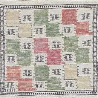 Scandinavian Nazmiyal Collection Vintage Marta Maas Green/Red Area Rug Nazmiyal Collection