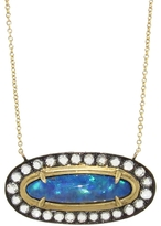 Deanna Hamro Oval Opal Necklace with Diamonds - Yellow Gold