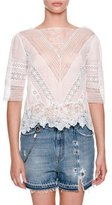 Ermanno Scervino Elbow-Sleeve Sheer Blouse with Lace Inset