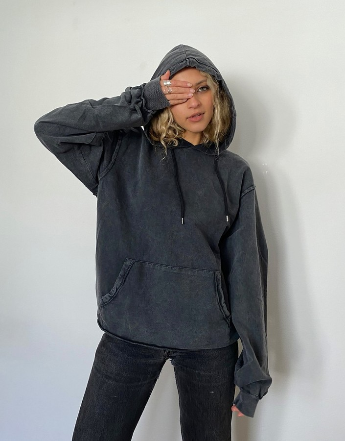 ASOS DESIGN oversized boyfriend hoodie in washed black