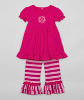 Princess Linens Hot Pink Monogram Tunic & Ruffle Pants - Infant, Toddler & Girls