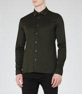 Reiss Reiss Chapter - Mercerised Cotton Shirt In Green