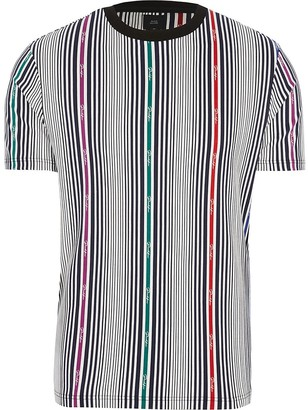 River Island Big and Tall Prolific white stripe T-shirt
