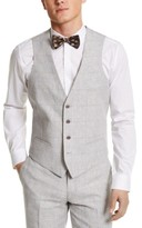 Bar III Men's Slim-Fit Gray Plaid Linen Suit Separate Vest, Created For Macy's