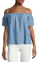 Joie Amesti B Chambray Off-the-Shoulder Top, Blue