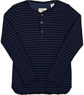 Scotch Shrunk Striped Waffle-Knit Cotton Henley-BLUE
