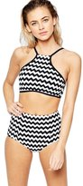 B-Sin Swimsuits for Women,Halter Neck Stripes Push up Tankini Top 2 Pieces Swimwear (High Waist XL)