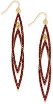 INC International Concepts Gold-Tone Burgundy Pave Double Navette Drop Earrings, Created for Macy's