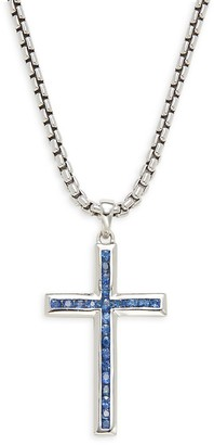 Effy Sterling Silver & Sapphire Cross Chain Necklace