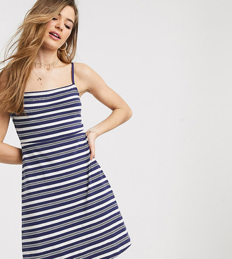 Asos Tall ASOS DESIGN Tall Exclusive square neck mini dress in navy stripe