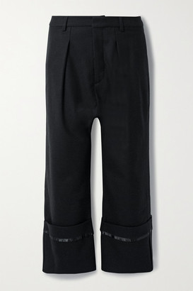 R 13 Cropped Satin-trimmed Wool-twill Pants - Black